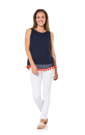 Tassel Up: Navy Swiss Dot With Red Tassel Sleeveless Top