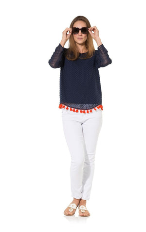 Tassel Up: Navy Swiss Dot With Red Tassel Long Sleeve Top