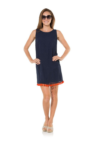 Tassel Up: Navy Swiss Dot With Red Tassel Sleeveless Dress