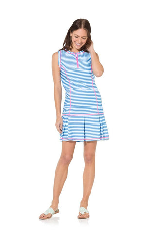 UPF 50 Striped Boxpleat Dress