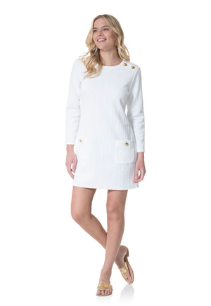 Rope Knit Long Sleeve Dress with Front Pockets