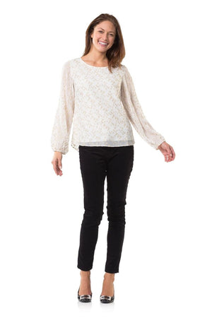 Metallic Chiffon Long Sleeve Top