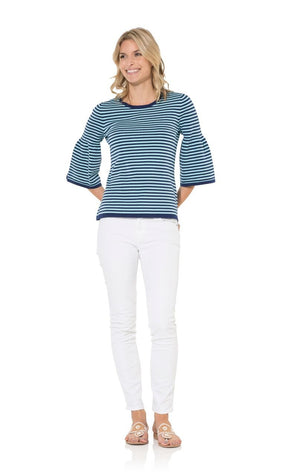 The Striped Aqua Bell Sleeve Sweater Top