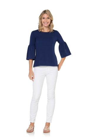 The Navy Bell Sleeve Sweater Top