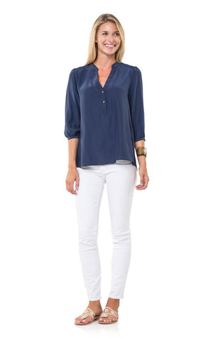 Navy Silk Blouse with Gold Buttons