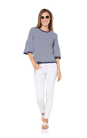 The Striped Navy Bell Sleeve Sweater Top