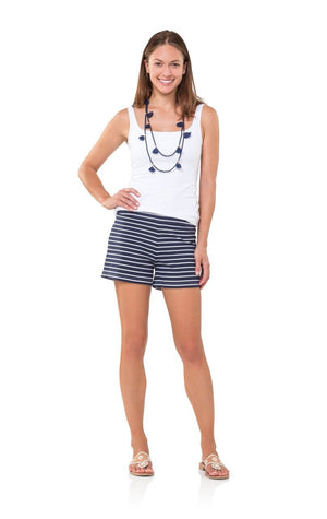 Striped At Sea Shorts Navy and White