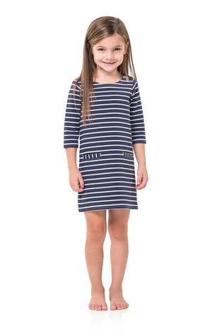 Navy & White Stripe Ponte Kids L/S Shift