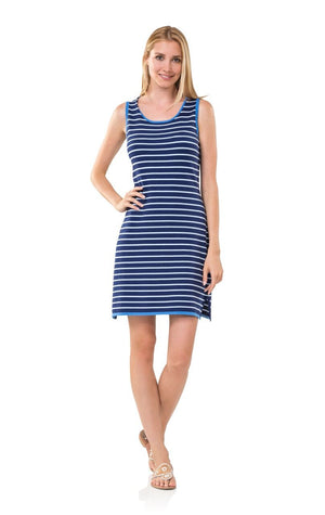 Navy Sleeveless Stripe Sweater Dress