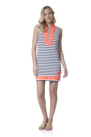 Striped Knit Sleeveless Tunic Dress