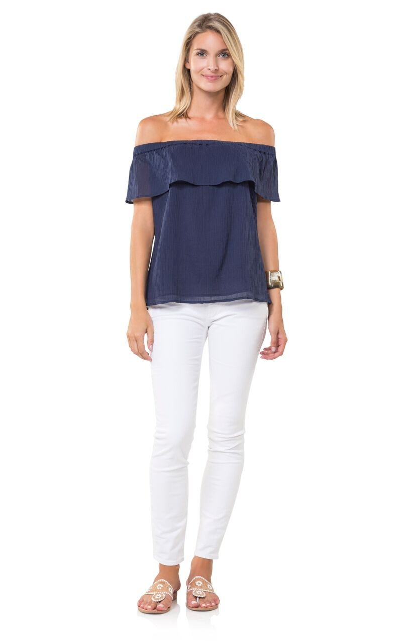 Silly for Off the Shoulder Top Navy - Sail to Sable