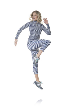 Active Leggings Navy and White