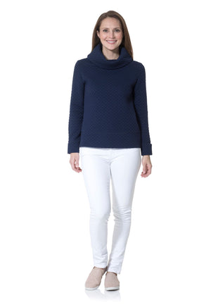 Dot Textured Knit Cowl Neck Pullover