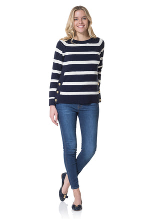 Merino Wool Long Sleeve Stripe Sweater Navy/Ivory