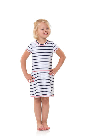 Kids UPF 50 Striped SS Fit and Flare
