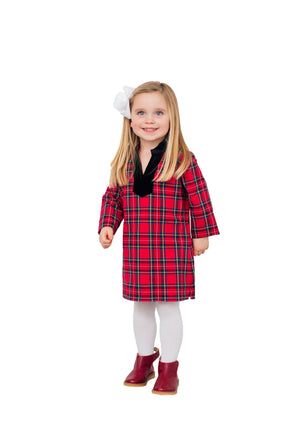 Kids Plaid Tunic Dress Red