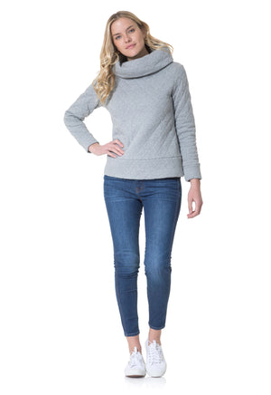 Quilted French Terry Cowl Neck Pullover Grey