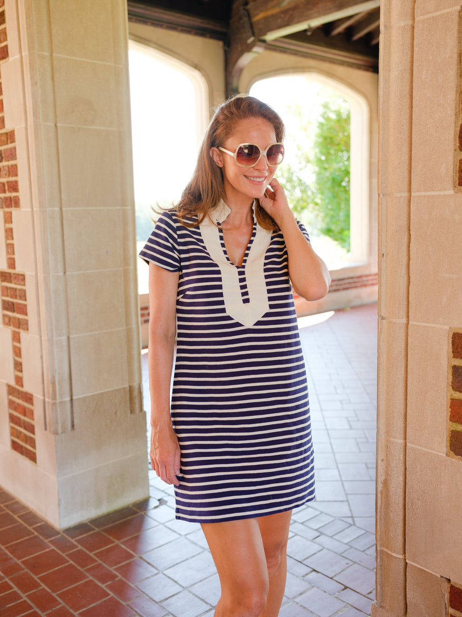Navy & White Stripe Short Sleeve Tunic Dress