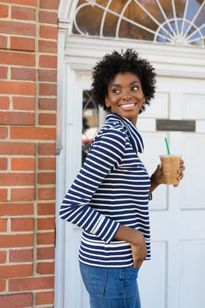 Navy & White Stripe Cowl Neck Pullover