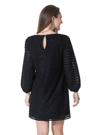 Sparkle Fringe Mesh Long Sleeve Dress
