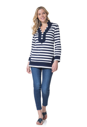 French Terry Long Sleeve Classic Tunic Top