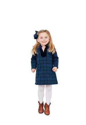 Kids Plaid Tunic Dress Navy
