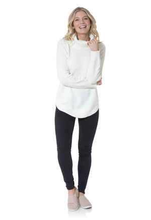 Cotton Long Sleeve Turtleneck Sweater Ivory