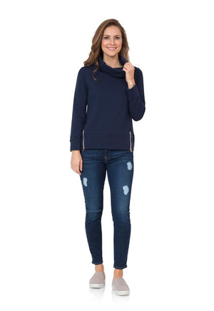 French Terry Long Sleeve Cowl Neck Sweatshirt