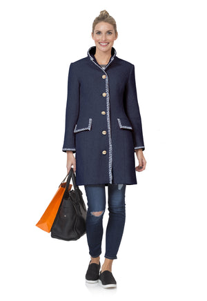 Boucle with hand embroidery button front coat