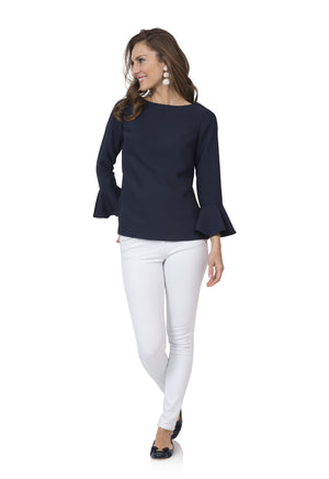 Poly Crepe Top with Flounce Sleeve