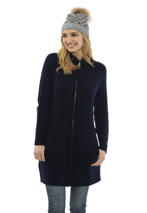 Cashmere/Wool Zip Front Long Sweater