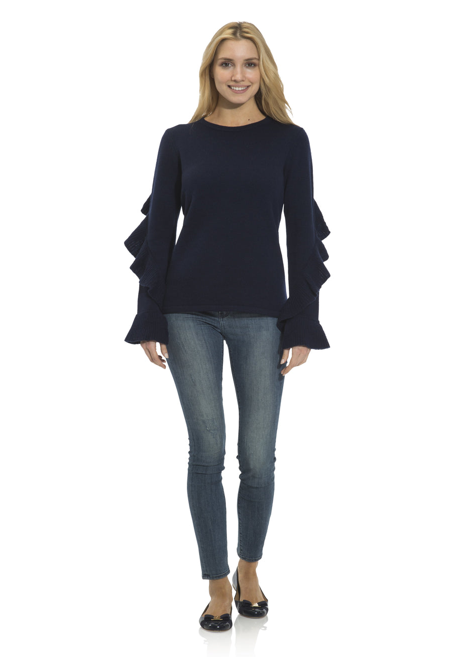 Cashmere/Wool Ruffle Sleeve Sweater Navy