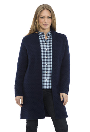 Honeycomb Drape Front Long Sweater Navy