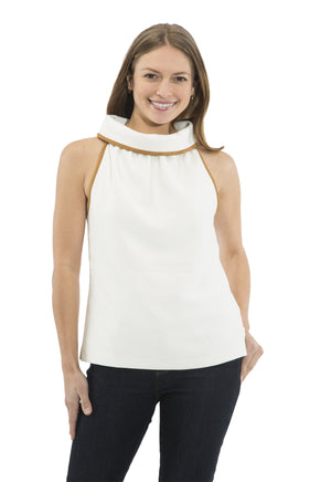 Poly Crepe Cowl Neck Top Cream