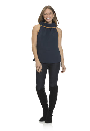 Poly Crepe Cowl Neck Top Navy