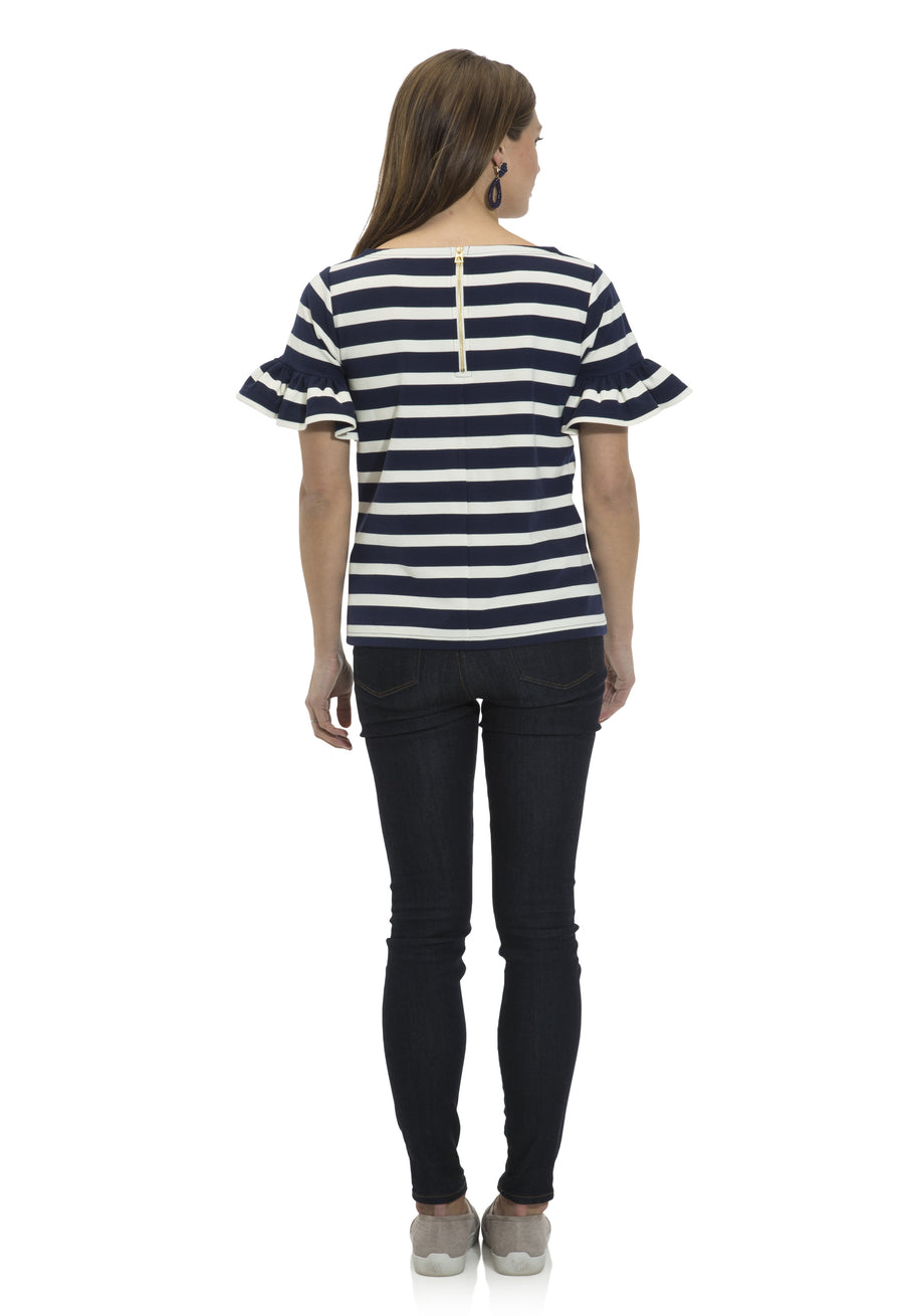 Stripe Ponte Short Sleeve Top Navy/Cream