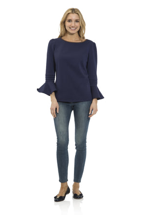 Honeycomb Knit Ruffle Sleeve Top Navy