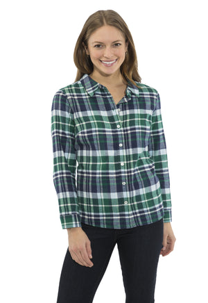 Plaid Flannel Button Front Shirt