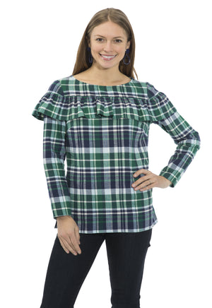 Plaid Flannel Ruffle Front Top