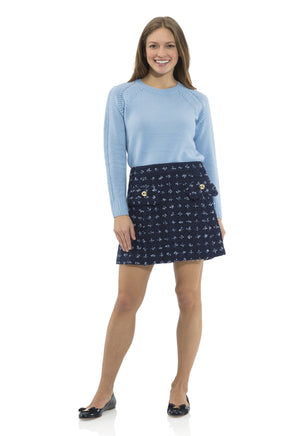 Cashmere/Wool Pom Pom Sweater Sky