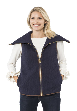Textured Knit Zip Front Vest