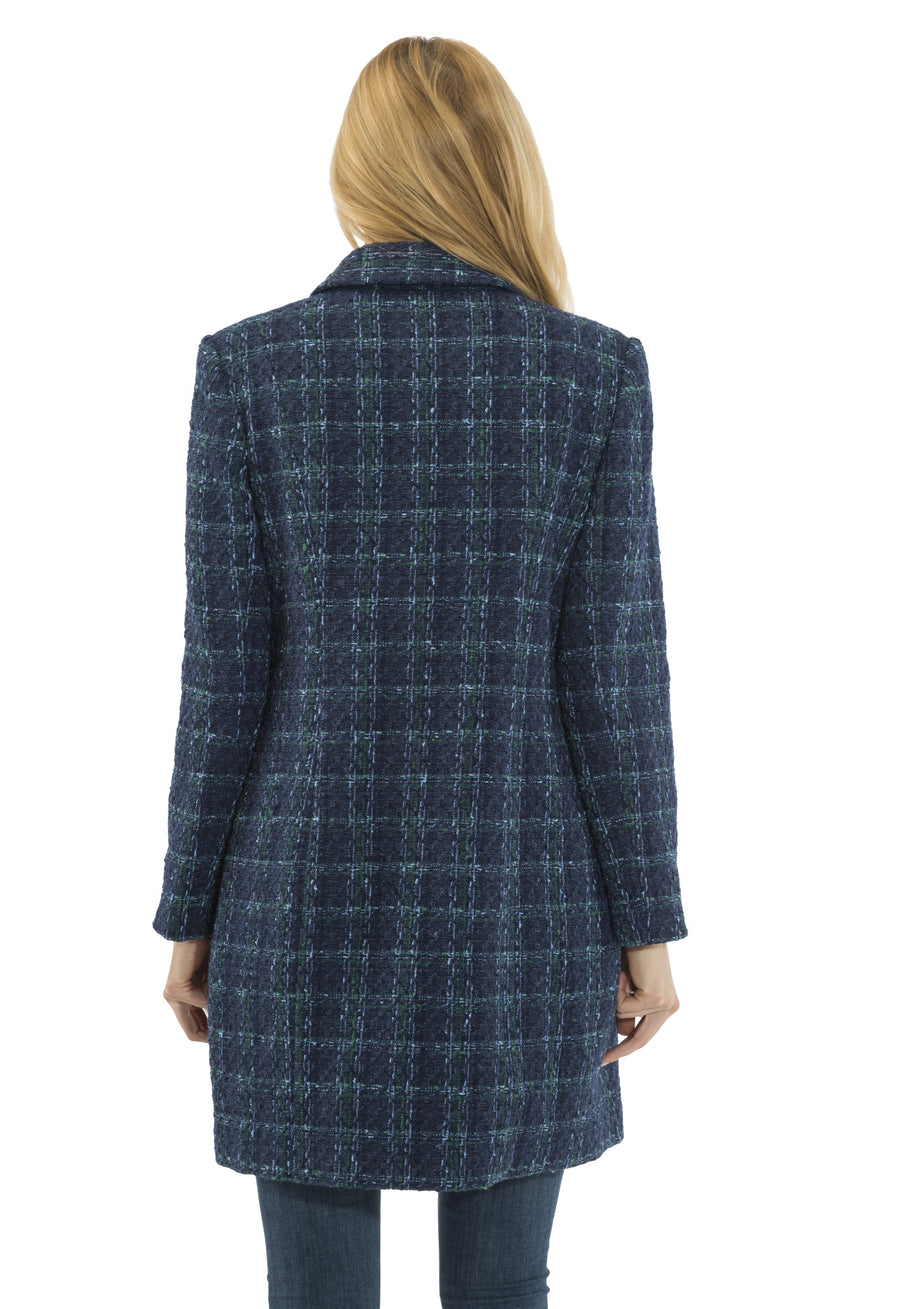 Plaid Tweed Button Front Coat