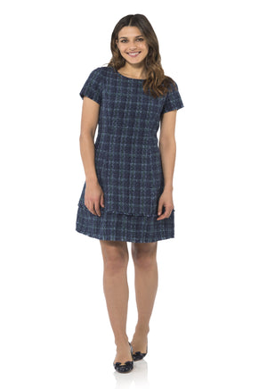 Plaid Tweed Short Sleeve Dress