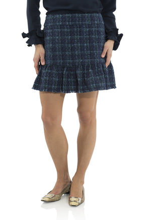 Plaid Tweed Ruffle Hem Skirt