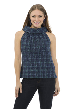 Plaid Tweed Cowl Neck Top