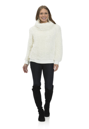 Faux Fur Cowl Neck Top