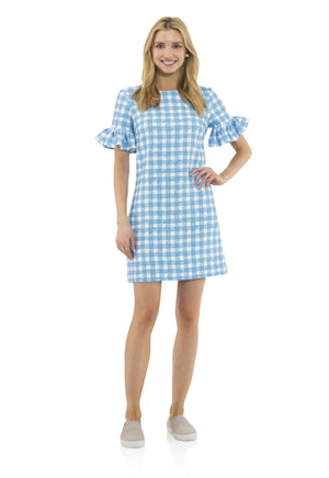 Poly Crepe Ruffle Sleeve Dress Gingham