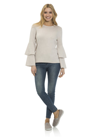 Cashmere/Wool Double Bell Sleeve Sweater Camel