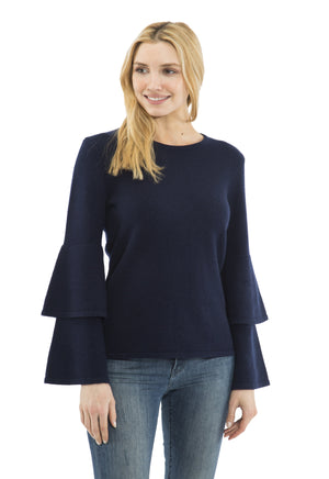 Cashmere/Wool Double Bell Sleeve Sweater Navy