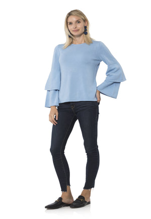 Cashmere/Wool Double Bell Sleeve Sweater Sky